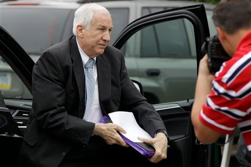 Former Penn State University assistant football coach Jerry Sandusky arrives at the Centre County Courthouse in Bellefonte, Pa., Tuesday, June 19, 2012. (AP Photo/Gene J. Puskar)