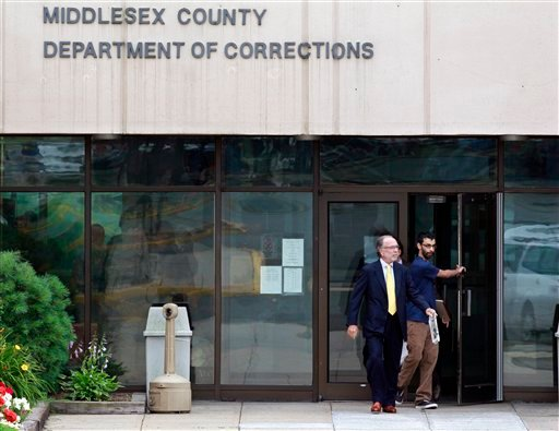 Dharun Ravi, right, 20, walks out of Middlesex County jail with his attorney Steven Altman in North Brunswick, N.J., Tuesday, June 19, 2012. (AP Photo/Mel Evans)