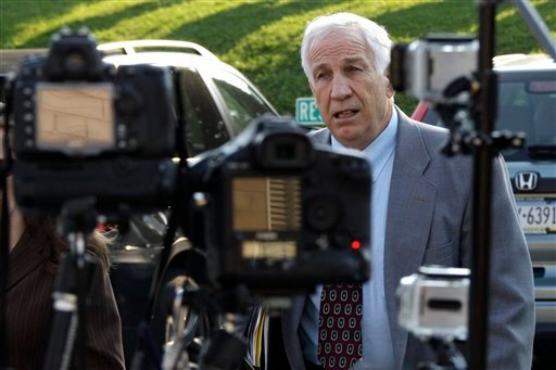 Former Penn State University assistant football coach Jerry Sandusky arrives at the Centre County Courthouse in Bellefonte, Pa. June 21, 2012. (AP Photo/Gene J. Puskar)