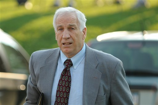 Jerry Sandusky arrives at the courthouse Thursday, June 21, 2012, for closing arguments of his sexual abuse trial, at the Centre County Courthouse, in Bellefonte, Pa. (AP Photo/Centre Daily Times, Nabil K. Mark)