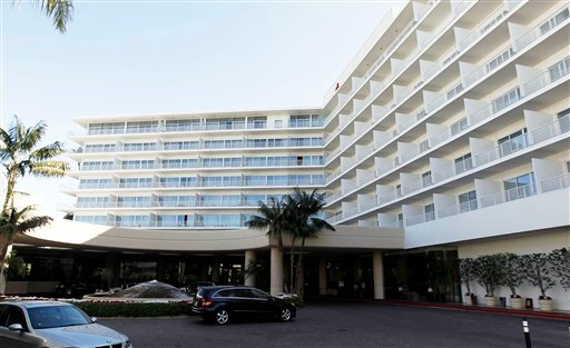 This Feb. 17, 2012 photo shows a general view of The Beverly Hilton Hotel in Beverly Hills, Calif. (AP Photo/Matt Sayles)