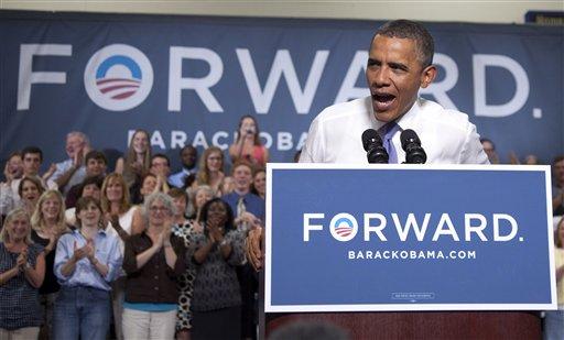 President Barack Obama speaks at Oyster River High School, Monday, June 25, 2012, in Durham, N.H. (AP Photo/Carolyn Kaster)