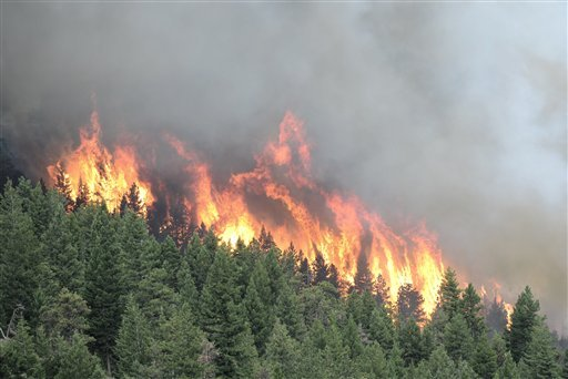 A view of the Flagstaff fire west of Boulder, Colo. on Tuesday, June 26, 2012.  (AP Photo/Mark Leffingwell, Daily Camera)