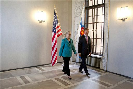U.S. Secretary of State Hillary Rodham Clinton meets with Finnish Prime Minister Jyrki Katainen, Wednesday, June 27, 2012, at the Parliament House in Helsinki, Finland. (AP Photo/Haraz N. Ghanbari, Pool)