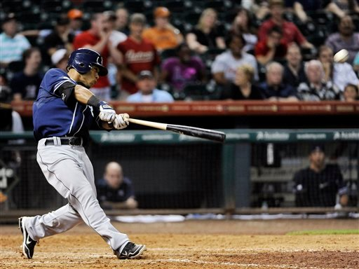 San Diego Padres' Alexi Amarista connects for a grand slam in the ninth inning of a baseball game against the Houston Astros, Thursday, June 28, 2012, in Houston. The Padres won 7-3. (AP Photo/Pat Sullivan)