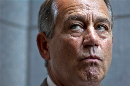 House Speaker John Boehner of Ohio, joined by other House GOP leaders, meets with reporters on Capitol Hill in Washington, Wednesday, June 27, 2012, following a political strategy session. (AP Photo/J. Scott Applewhite)