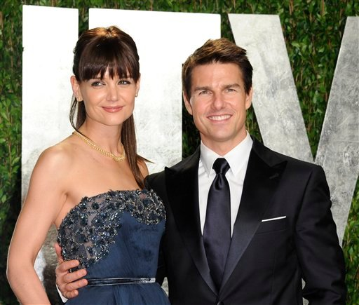 FILE - In this Feb. 26, 2012 file photo, actors Tom Cruise and Katie Holmes arrive at the Vanity Fair Oscar party, in West Hollywood, Calif. Cruise and Homes are calling it quits after five years of marriage.