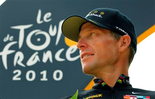 FILE - In this July 25, 2010, file photo, Lance Armstrong looks back on the podium after the 20th and last stage of the Tour de France cycling race in Paris, France. (AP Photo/Bas Czerwinski, File)