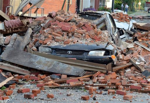 In this photo taken Friday, June 29, 2012 shows a brick wall from the second story of the Christie's on the Square store in Columbus Grove, Ohio. (AP Photo/The Lima News, Jay Sowers)
