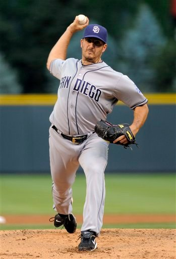 San Diego Padres starting pitcher Jason Marquis throws to a Colorado Rockies batter during the first inning of a baseball game in Denver, Friday, June 29, 2012. (AP Photo/Jack Dempsey)