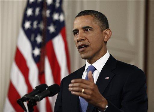 President Barack Obama speaks in the East Room of the White House in Washington, Thursday, June 28, 2012, after the Supreme Court ruled on his health care legislation. (AP Photo/Luke Sharrett/Pool)