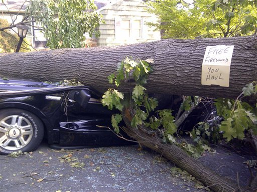 A tree sitting atop a vehicle offers free firewood in Falls Church, Va., Monday, July, 2, 2012, as cleanup continued after Friday's storm. (AP Photo/Karen Mahabir)