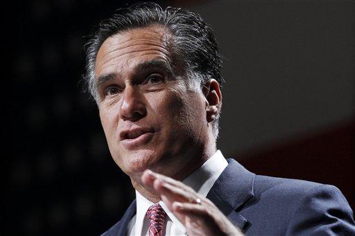 FILE - In this June 21, 2012 file photo, Republican presidential candidate, former Massachusetts Gov. Mitt Romney speak Orlando, Fla. (AP Photo/Charles Dharapak)