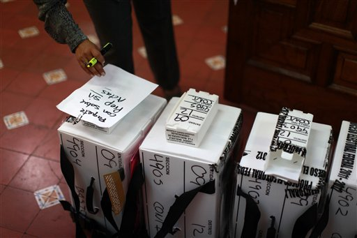 Ballot boxes arrive at an electoral institute district council to be computed in Mexico City, Wednesday July 4, 2012. The computation is done to determine which ballot boxes will be recounted in front of party representatives. (AP Photo/Dario Lopez-Mills)