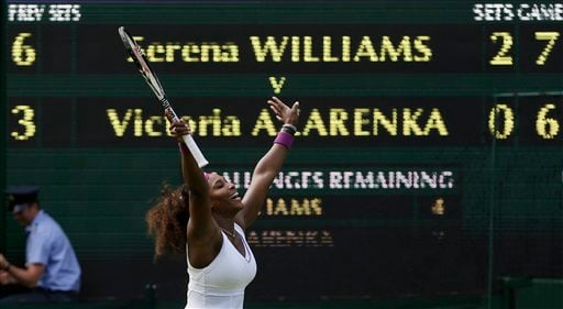 Serena Williams of the United States reacts after defeating Victoria Azarenka of Belarus during a semifinals match at the All England Lawn Tennis Championships at Wimbledon, England, Thursday, July 5, 2012. (AP Photo/Alastair Grant)