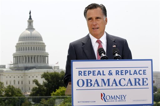 FILE - In this June 28, 2012 file photo, Republican presidential candidate Mitt Romney speaks about the Supreme Court ruling on health care in Washington. (AP Photo/Charles Dharapak, File)