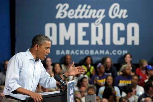 President Barack Obama speaks at Dobbins Elementary School in Poland, Ohio, Friday, July 6, 2012. Obama is on a two-day bus trip through Ohio and Pennsylvania. (AP Photo/Susan Walsh)