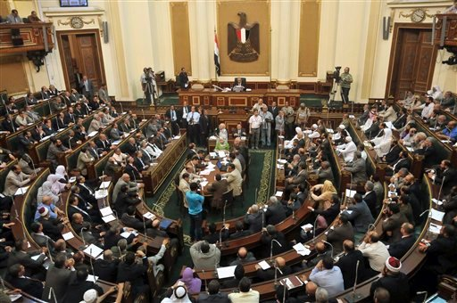 Egyptian Parliament Speaker Saad el-Katani presides over a brief session of Parliament, the first since the country's high court ruled the chamber unconstitutional, in Cairo, Egypt, Tuesday, July 10, 2012. (AP Photo)
