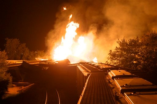 Flames rise from a derailed freight train early Wednesday July 11, 2012 in Columbus, Ohio.  (AP Photo/Chris Mumma)