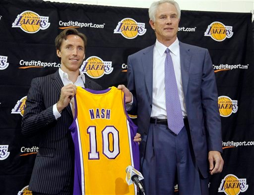 Newly acquired Los Angeles Lakers guard Steve Nash, left, holds his new jersey with general manager Mitch Kupchak at a news conference at the basketball team's headquarters in El Segundo, Calif., Wednesday, July 11, 2012. (AP Photo)