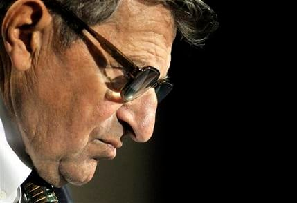 In this Sept. 30, 2008 file photo, Penn State football coach Joe Paterno listens to a question during his weekly news conference in State College, Pa. (AP Photo/Pat Little)
