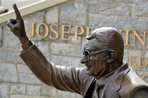 The statue of former Penn State University head football coach Joe Paterno stands outside Beaver Stadium in State College, Pa., Friday, July 13, 2012. (AP Photo/Gene J. Puskar)