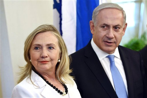 Secretary of State Hillary Clinton, left, meets with Israeli Prime Minister Benjamin Netanyahu in Jerusalem, Israel, Monday, July 16, 2012. (AP Photo/Brendan Smialowski, Pool)