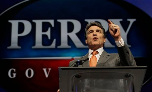 "FILE - In this June 7, 2012 photo, Texas Gov. Rick Perry speaks during the Texas Republican Convention in Fort Worth, Texas. For Perry, saying ""no"" to the federal health care law could also mean turning away coverage for up to 1.3 million people. (AP)"