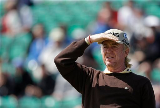 Miguel Angel Jimenez of Spain looks from the 5th tee during a practice round at Royal Lytham & St Annes golf club ahead of the British Open Golf Championship, Lytham St Annes, England, Wednesday, July 18, 2012. (AP Photo/Tim Hales)