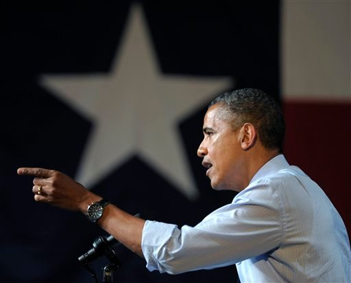 President Barack Obama speaks at a fundraising event at the Austin Music Hall in Austin, Texas, Tuesday, July 17, 2012. Obama is spending the day fundraising in Texas. (AP Photo/Susan Walsh)