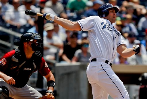 San Diego Padres' Clayton Richard, right, hits a run-producing double against the Houston Astros during the sixth inning of a baseball game on Wednesday, July 18, 2012, in San Diego. Astros' catcher Chris Snyder, left, looks on.