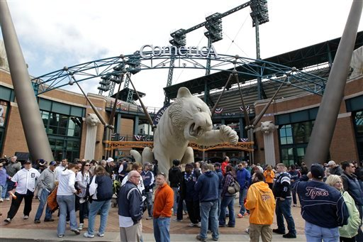 This April 5, 2012 file photo shows fans outside Comerica Park before a baseball game between the Detroit Tigers and Boston Red Sox, in Detroit.