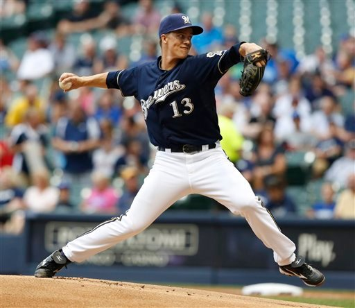 Milwaukee Brewers starting pitcher Zack Greinke delivers to the Pittsburgh Pirates in the first inning of a baseball game, Friday, July 13, 2012, in Milwaukee. Greinke started the third consecutive game for the Brewers. (AP Photo/Jeffrey Phelps)