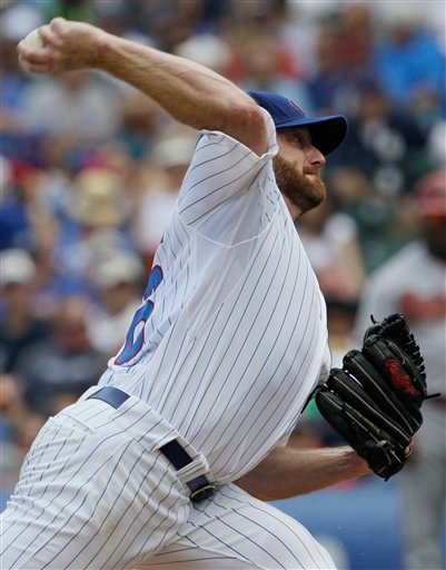 Chicago Cubs starter Ryan Dempster throws against the Arizona Diamondbacks during the third inning of a baseball game in Chicago, Saturday, July 14, 2012. (AP Photo/Nam Y. Huh)