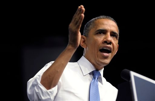 President Barack Obama speaks at a campaign event at the Prime Osborn Convention Center in Jacksonville, Fla., Thursday, July 19, 2012. Obama is spending two days in Florida campaigning. (AP Photo/Susan Walsh)