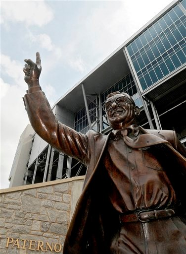 A statue of former Penn State head football coach Joe Paterno stands outside Beaver Stadium on the Penn State campus, Thursday, July 19, 2012, in State College, Pa.