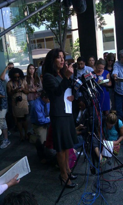 Lisa Damiani is the attorney representing the family of 24-year-old James Holmes. Damiani held a news conference in downtown San Diego Monday, July 23, 2012 to issue a statement on behalf of the family. (Photo courtesy: News 8's Richard Allyn)