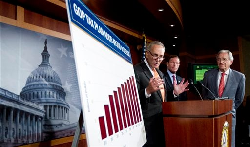 From left: Sen. Charles Schumer, D-N.Y., with Sen. Richard Blumenthal, D-Conn., and Sen. Tom Harkin, D-Iowa, talk about the Democrats and Republican tax proposals during a news conference on Capitol Hill in Washington Tuesday, July 24, 2012. (AP Photo)