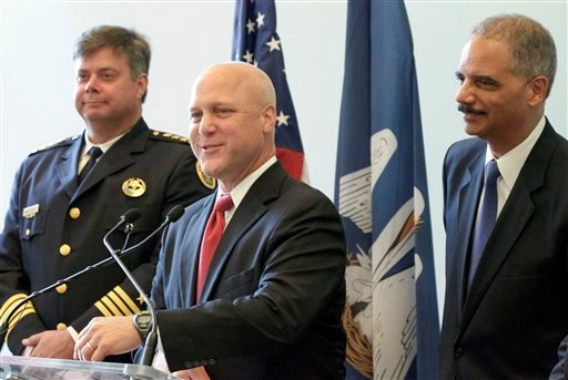 New Orleans Mayor Mitch Landrieu speaks next to Police Superintendent Ronal Serpas and U.S. Attorney General Eric Holder about the details of a federal consent decree from the Department of Justice inside Gallier Hall, Tuesday, July 24, 2012. (AP Photo)