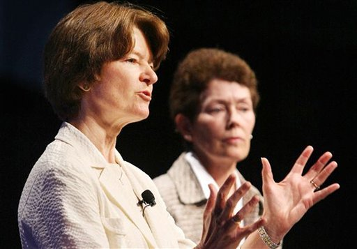 In this June 29, 2008 photo made available by the American Library Association, former astronaut Sally Ride, foreground, and Tam O-Shaughnessy discuss the role of women in science and how the earth's climate is changing during an ALA conference.
