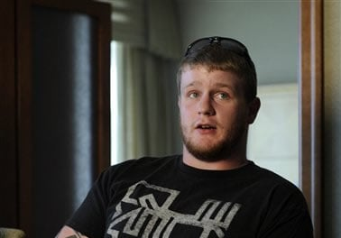 Seth Medley talks about his brother's injuries, medical bills, and the birth of his brother's son during an interview at University of Colorado Hospital Tuesday evening, July 24, 2012. (AP Photo/The Denver Post, Karl Gehring)
