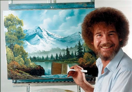 "This undated image released by Copyright Bob Ross Inc./The Joy of Painting, shows the late Bob Ross, host of the PBS series ""The Joy of Painting."" (AP Photo/Copyright Bob Ross Inc. ® The Joy of Painting)"