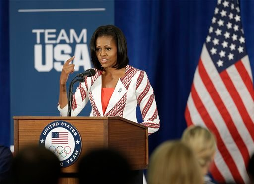 First lady Michelle Obama speaks during a breakfast with Team USA at the 2012 Summer Olympics, Friday, July 27, 2012, in London.