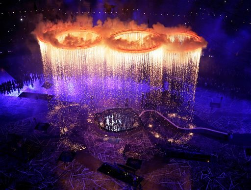 The Olympic rings light up the stadium during the Opening Ceremony at the 2012 Summer Olympics, Friday, July 27, 2012, in London. (AP Photo/Morry Gash, Pool)