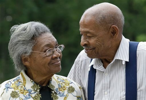 Roland Davis and Lena Henderson, both 85, pose for a photo in West Seneca, N.Y., Tuesday, July 31, 2012. (AP Photo/David Duprey)