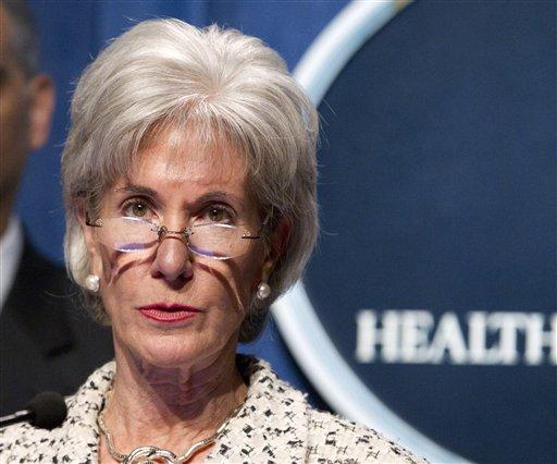 FILE - In this Feb. 14, 2012 file photo, Health and Human Services (HHS) Secretary, Kathleen Sebelius speaks at HHS headquarters in Washington. (AP Photo Manuel Balce Ceneta, File)