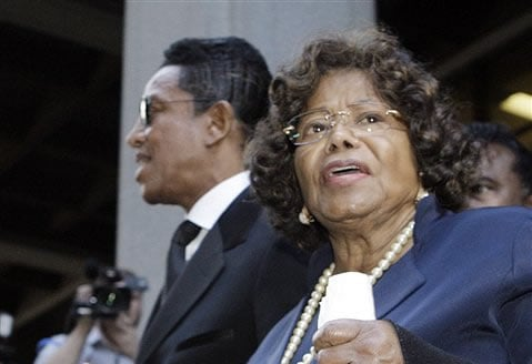 FILE - In this Nov. 29, 2011 photo, Michael Jackson's mother Katherine Jackson and brother Jermaine Jackson leave after the sentencing of Conrad Murray at the Los Angeles Criminal Justice Center. (AP Photo/Reed Saxon, File)