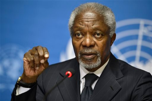 Kofi Annan, Joint Special Envoy of the United Nations and the Arab League for Syria, speaks during a press briefing, at the European headquarters of the United Nations, UN, in Geneva, Switzerland, Thursday Aug. 2, 2012. (AP)