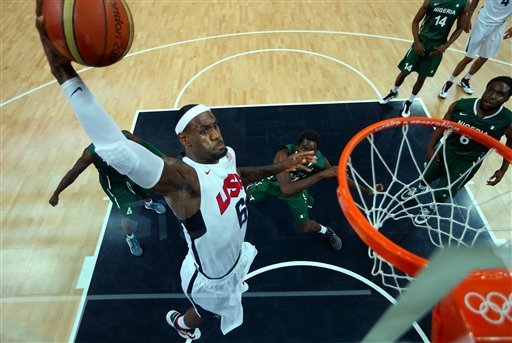 Lebron James (6) of the United States shoots against Nigeria during a men's basketball preliminary round match at the 2012 Summer Olympics on Thursday, Aug. 2, 2012, in London.