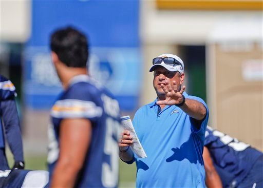 San Diego Chargers defensive coordinator John Pagano during practice at the Chargers' training camp Friday, July 27, 2012 in San Diego.